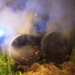 Brennende Strohballen</br>Feueralarm nach dem Kameradschaftsabend