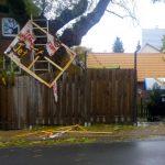 Transparente pro Umgehungsstraße zerstört
